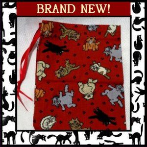 Crazy Cats Print Drawstring Pouch Bag